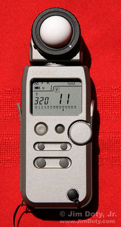 Sekonic digital incident light meter. Photo copyright Jim Doty Jr.
