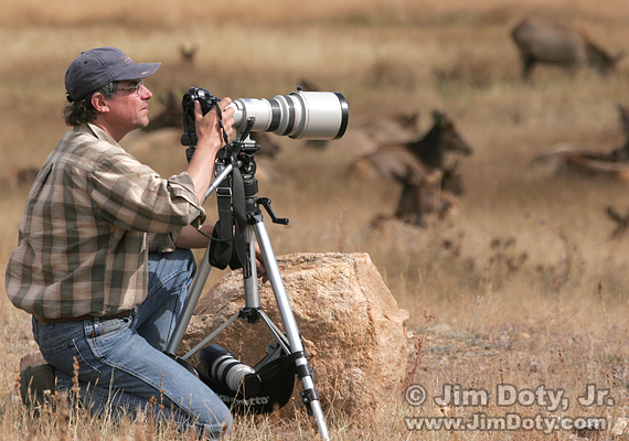 Photographer, Telephoto Lens, and Tripod. Rocky Mountain National Park. Photo copyright Jim Doty, Jr.